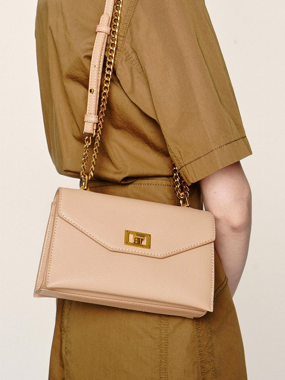 Turn-Lock Crossbody Bag