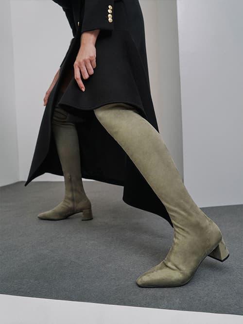 Thigh High Blade Heel Boots