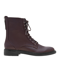 BACK ZIP LACE-UP CALF BOOTS