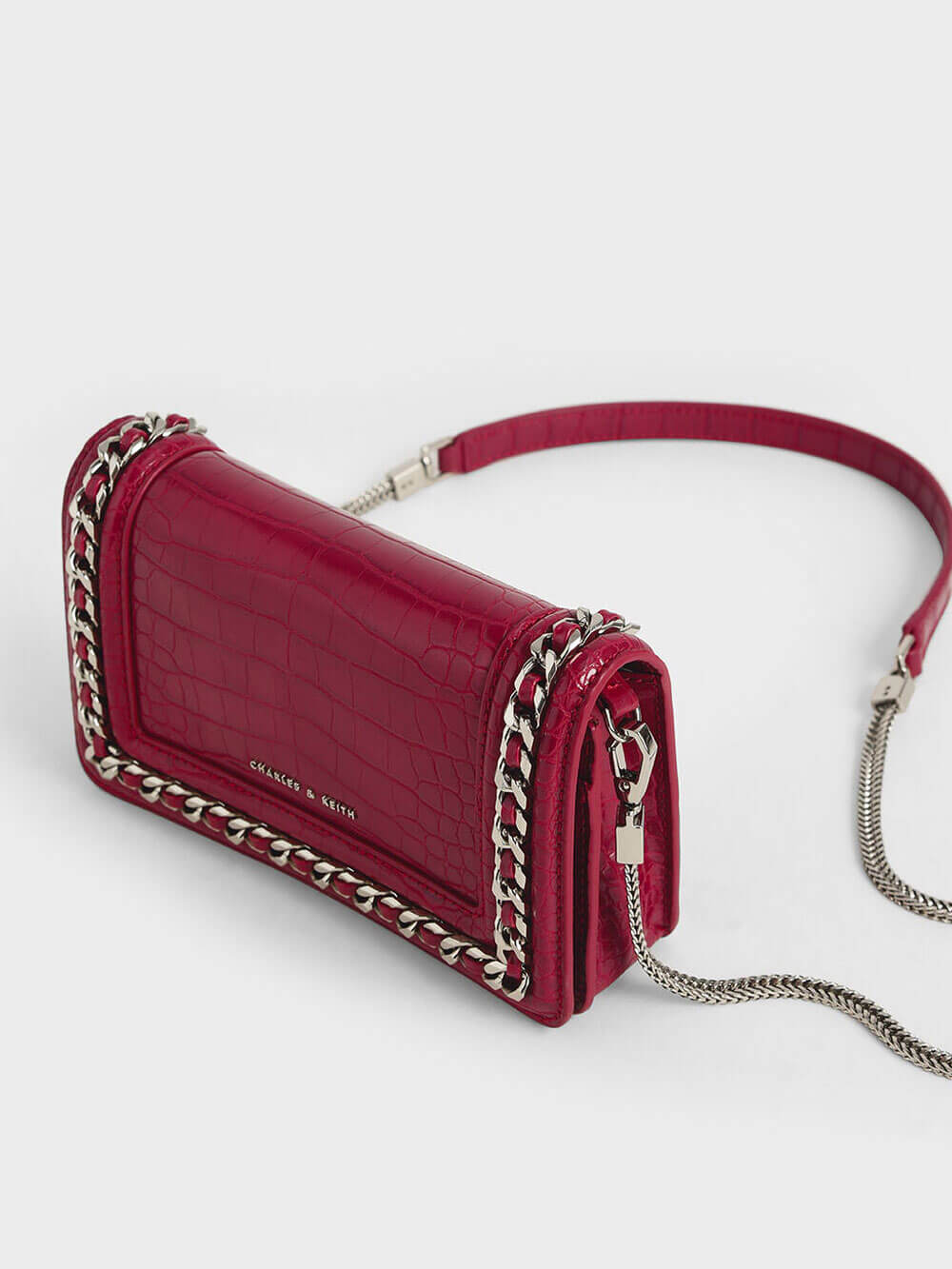 Croc-Effect Chain-Trimmed Clutch