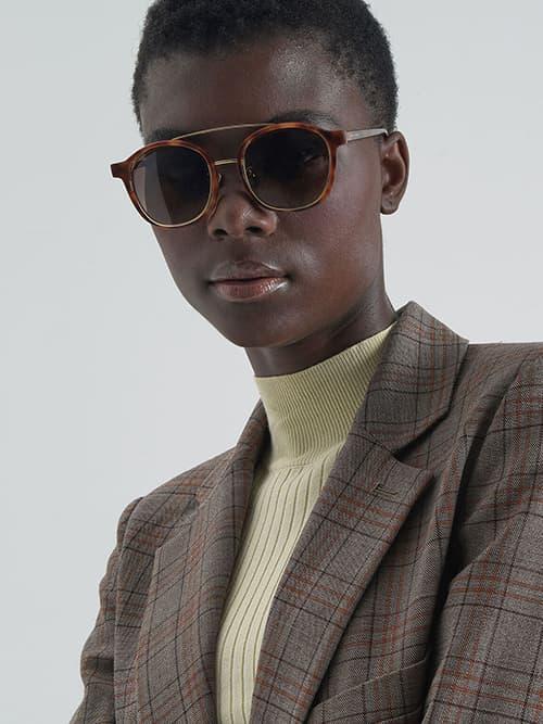 Tortoiseshell Gradient Tint Round Sunglasses, T. Shell