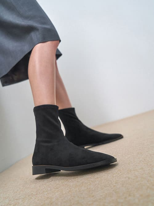 Textured Zip Ankle Boots, Black Textured