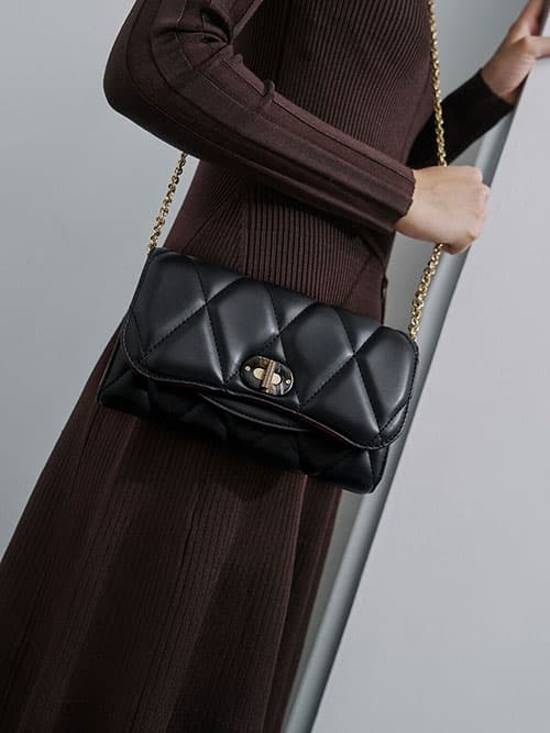 Quilted Turn-Lock Wallet, Black