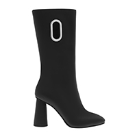 EYELET DETAIL CYLINDRICAL HEEL CALF BOOTS