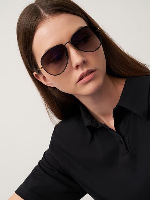 Tinted Aviator Sunglasses, Black
