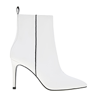TWO-TONE POINTED TOE STILETTO HEEL CALF BOOTS
