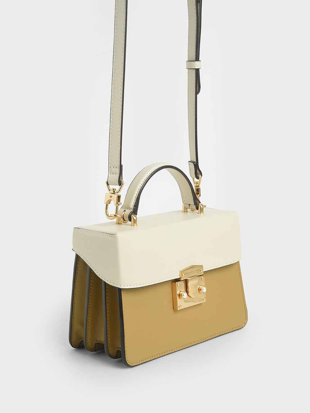 Two-Tone Metallic Push-Lock Handbag