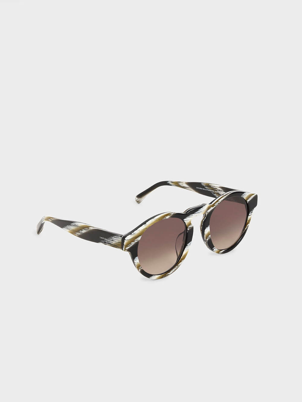 Striped Round Acetate Sunglasses