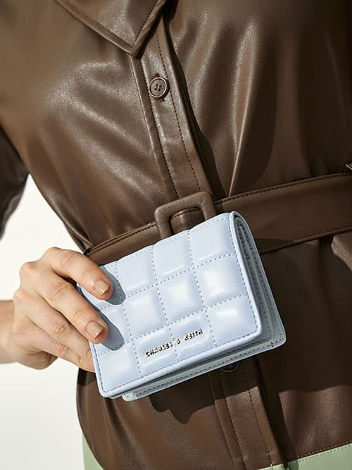 Quilted Mini Wallet, Light Blue