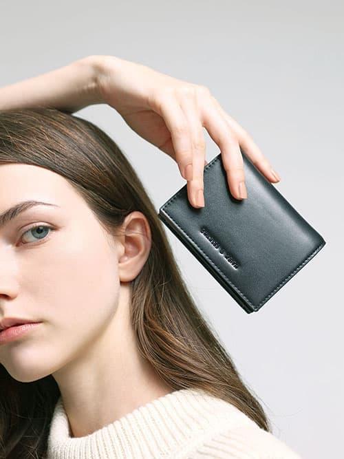 Snap Button Mini Short Wallet, Black