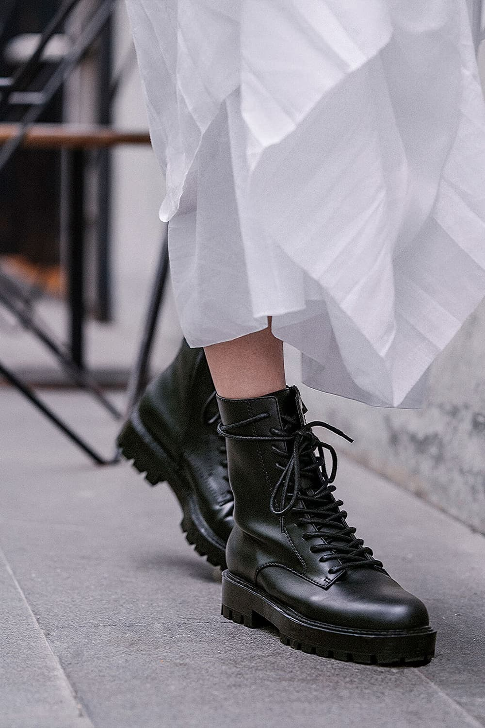 Women's lace up combat boots in black - CHARLES & KEITH