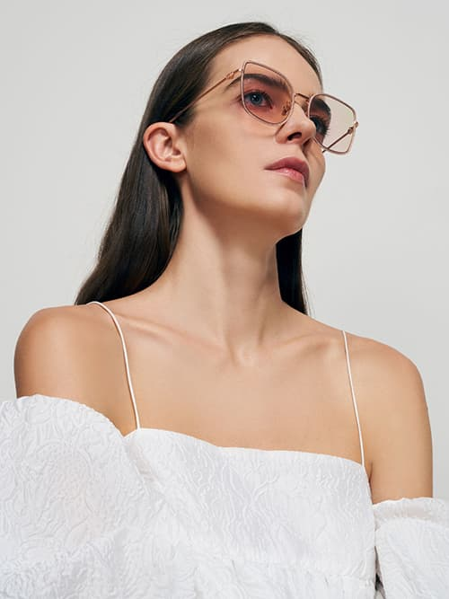 Geometric Butterfly Sunglasses, Rose Gold