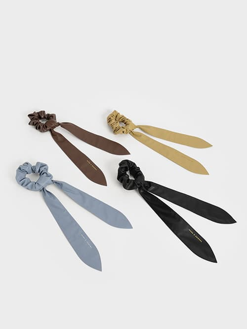 Riley Ruched Bow Scrunchie, Blue, Sand, Dark Brown, Black