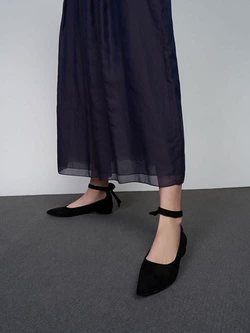 TEXTURED ANKLE STRAP BALLERINA FLATS