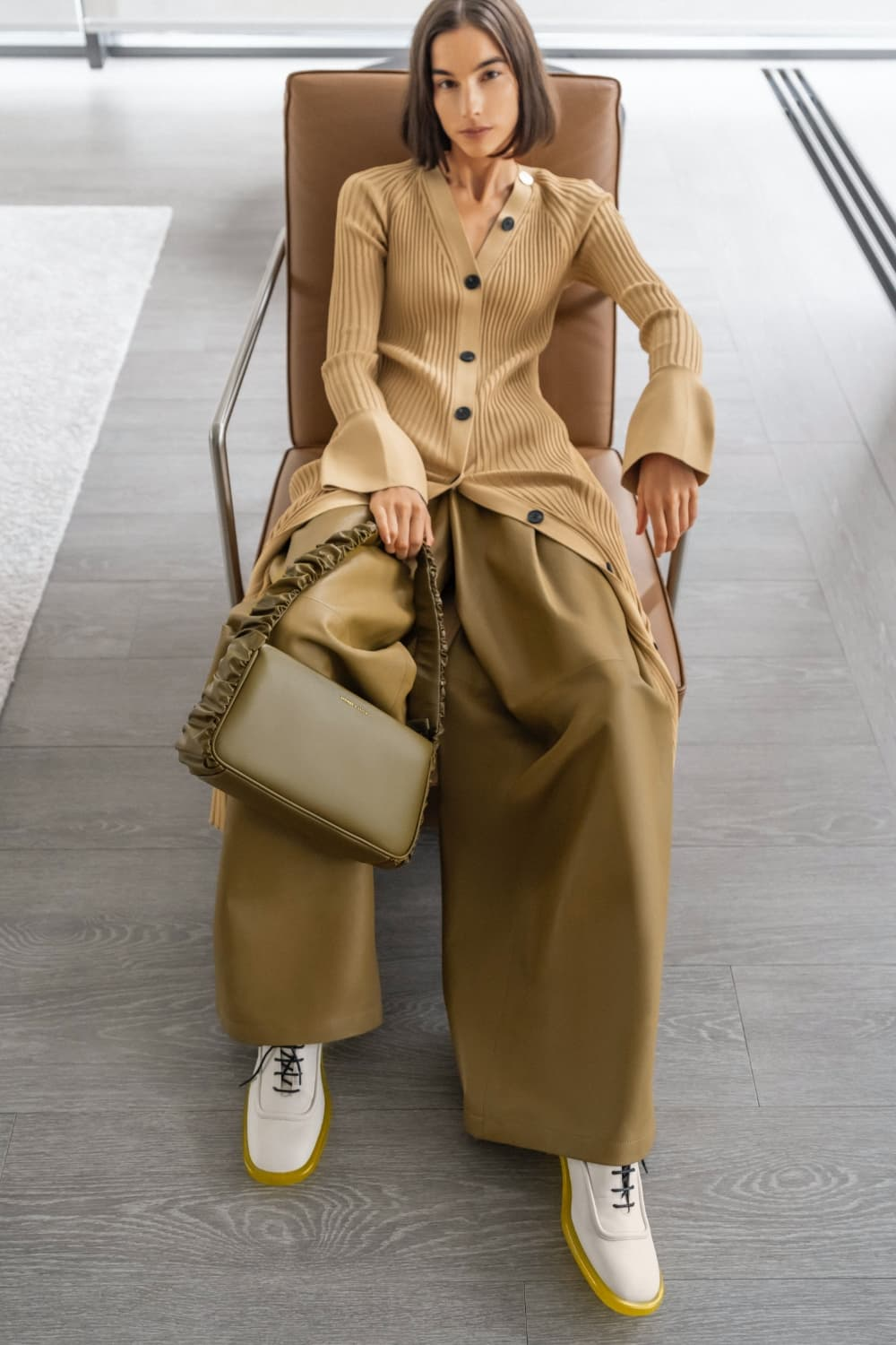 Women's olive Riley ruffle-trim bag and chalk Tegan leather brogues -CHARLES & KEITH