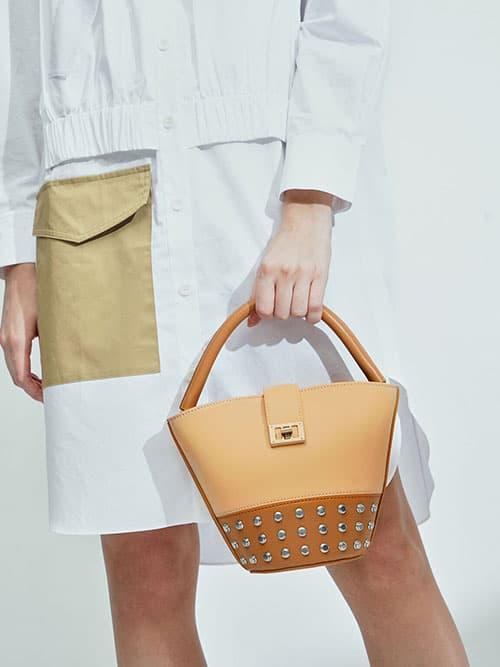 Studded Bucket Bag, Nude