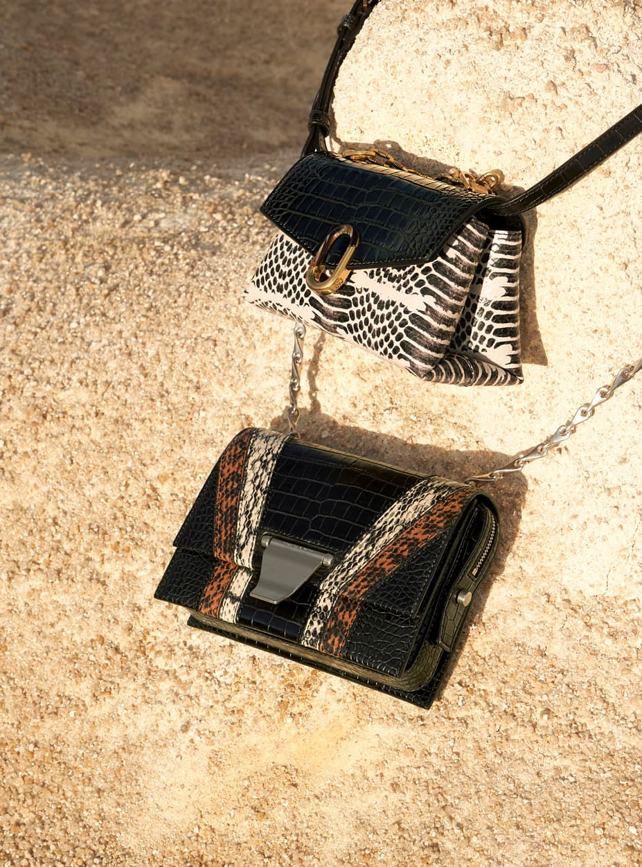 Women's croc-effect chunky chain strap trapeze bag and animal print metal push-lock crossbody bag
