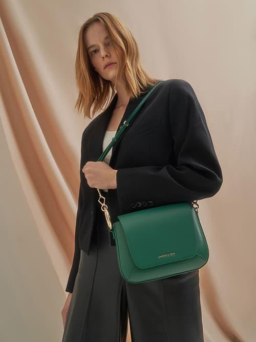 Ring Detail Crossbody Bag, Green