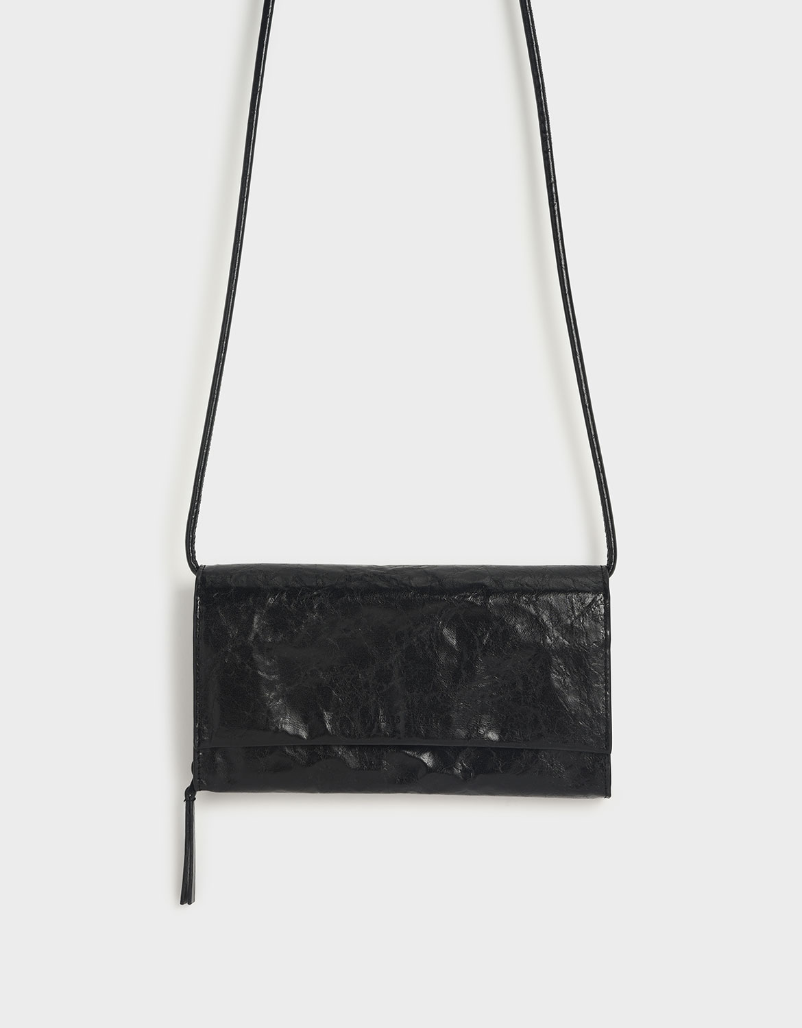 crumpled-effect front flap long wallet