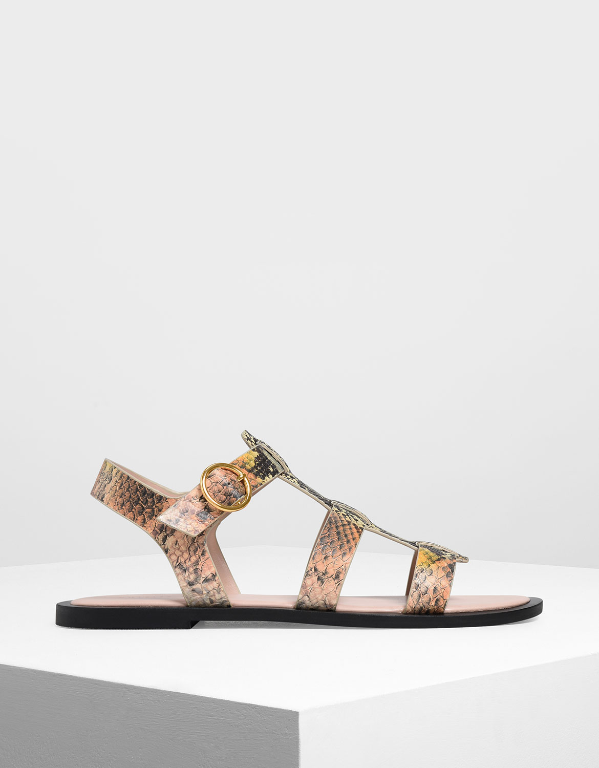 Charles & Keith Snake Print Strappy Sandals